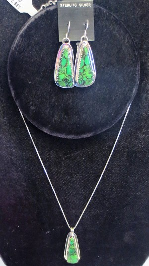 Sterling Silver Variscite Earring and Necklace Set