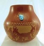 Red Starr Turquoise Inlaid Pot